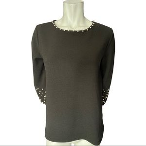 Karl Lagerfeld Black Textured Top with Pearls S
